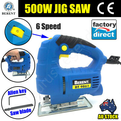 BERENT GS CE 500W Powerful Electric Jigsaw V/Speed Wood Timber Cutting Jig Saw
