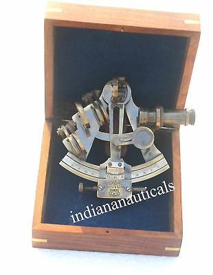 solid-brass-nautical-sextant-ship-sextant-Beautiful-gift-sextant With Wooden Box