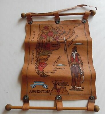 Vintage Handcrafted  Soft Leather Map of ARGENTINA South America Wall Hanging