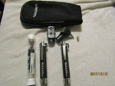 Welch Allyn otoscopes Ophthalmology  Optometry scopes case  AA handles 13010