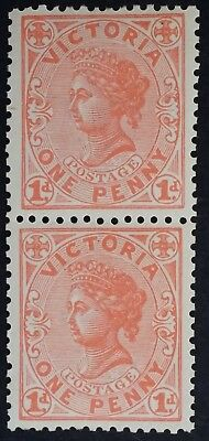 1902- Victoria Australia Pair of 1 d Dull Red Postage stamps State 2 Mint
