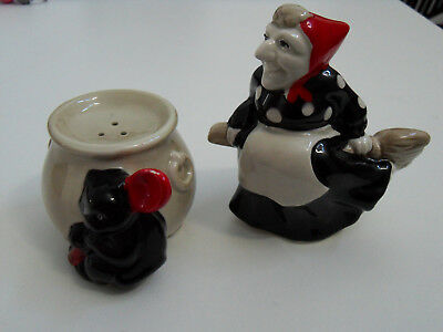 Fitz & Floyd Witch & Cat Salt & Pepper Shakers-1970s Vintage Excellent Condition