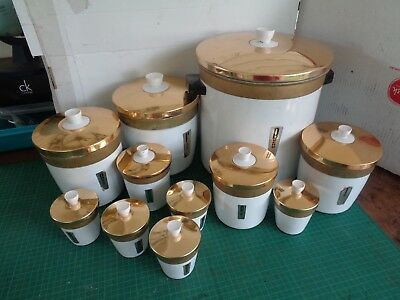 Vintage anodised aluminium canister set incl bread bin, 5 canisters, 5 spice