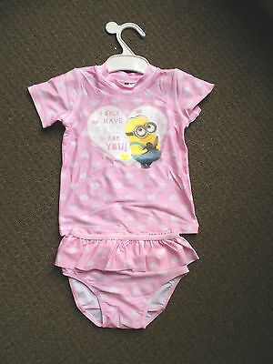 Target Despicable Me Baby Girl Rashie And Pants Size 2 Bnwt