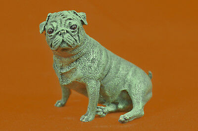 Hand Made Bronze Sculpture Miniature Paper Holder Pug Dog Figurine Decor