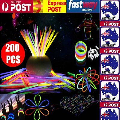 "200pcs 8"" Mixed Color Glow Sticks Bracelets Light Party Multi Color glowsticks"