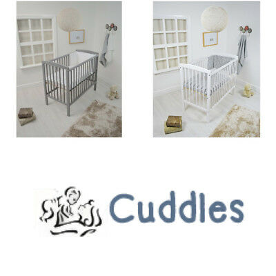 Cuddles Collection Spacesaver Cot with Foam Mattress with Dropside White or Grey