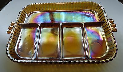 Lovely Vintage Indiana Marigold Carnival Glass 5 Section Hors d'oeuvres Platter