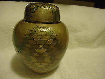 Cloisonne Ginger Jar Container - Hand Painted Enameled On Brass - Made In India