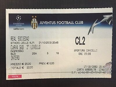 Biglietto Stadio Ticket Juventus-Real Sociedad Champions League 2003/'04