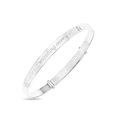 925 Real Silver Baby's Christening Birthday Fairy Bangle Expandable Bracelet
