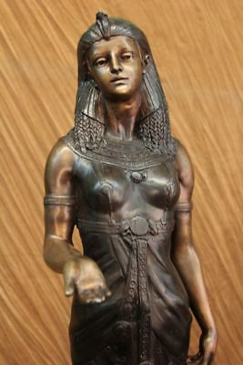 Hand Made Bronze Copper Egyptian Female Statue Made In Spain Marble Base Figure