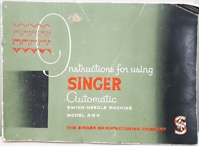 1950's Singer Sewing Machine 319k Instruction book – Knitting, Home