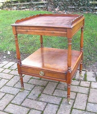 Vintage Burr Walnut Two Teir Trolley side table - With draw and slide
