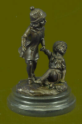 Hand Made Bronze Group of Two Children Statue Signed Sculpture Figure
