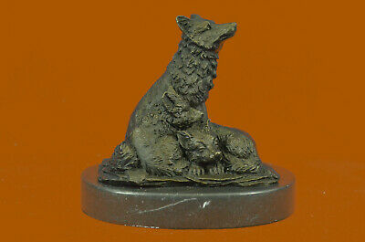 Hand Made bronze sculpture Bas Marble Family Wolf Miniature Barye Signed UG