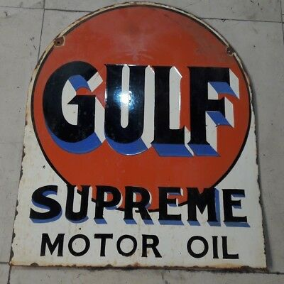 "Porcelain GULF SUPREME MOTOR OIL Enamel Sign SIZE 21"" X 25"" INCHES 2 SIDED"