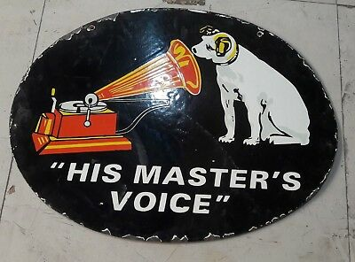 "HIS MASTERS VOICE Porcelain Sign SIZE 18"" X 24"" INCHES"