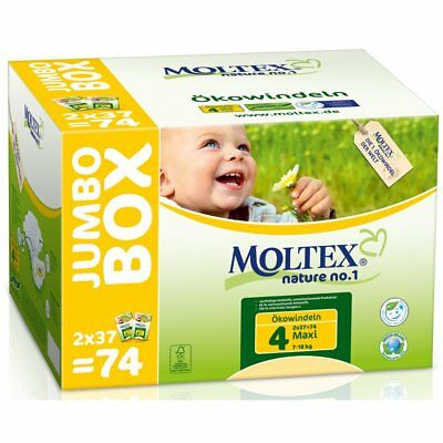 Moltex Nappies Size 4 Jumbo Pack, 74 Nappies Biodegradable Eco Friendly FREE P&P