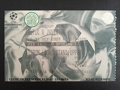 Biglietto Stadio Ticket Celtic Glasgow-Juventus Champions League 2001/'02