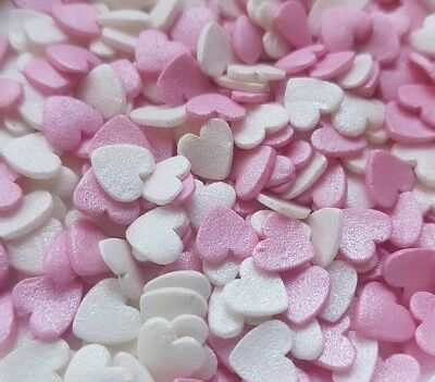 50g White Pink glimmer hearts Edible Cake Confetti Sequins Sprinkles WEDDING