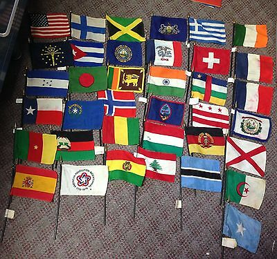 Vintage Mini Silk Flags Of Countries And States Lot 37 Flags Total