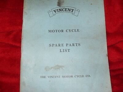 The Vincent Motor Cycle spare parts list