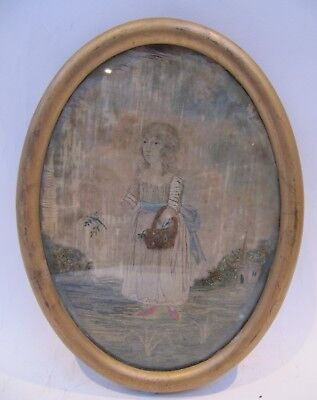 19th CENTURY, Silk Needlwork Panel, GIRL COLLECTING FLOWERS, WITH CHURCH BEYOND