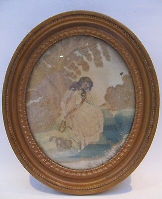 19th CENTURY, Silk Needlwork Panel, GIRL WITH DOG, SITTING BESIDE A STREEM