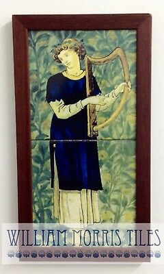 William Morris Minstrels Harp Hand  Made 2 Tile Panel Kiln Fired