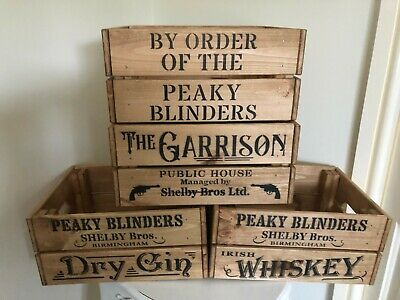 Wooden Peaky Blinders Shelby Bros Birmingham Irish Whiskey Dry Gin Crate Box