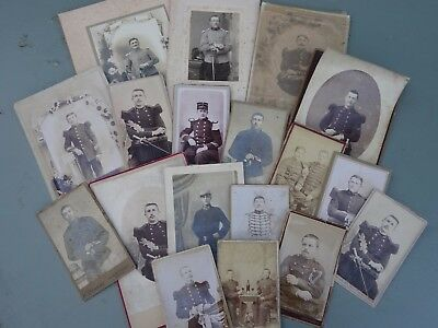 Collection 19th century French / Belgian military Officer's photo's - Swords etc
