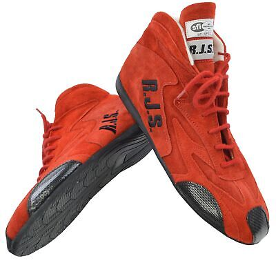 Rjs Racing Sfi 3.3/5 Racing Driving Shoes Red Mid Top Men Size 9 Imsa Scca Ihra