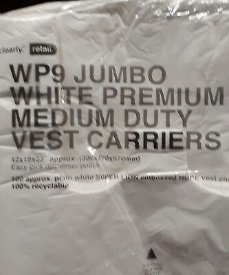 "STRONG LARGE JUMBO WHITE Vest Carrier 12 x 19 x 23"" Takeaway RetailShopping Bags"