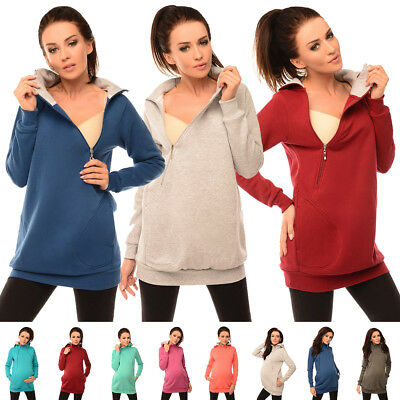 Purpless Maternity 2in1 Pregnancy and Discreet Nursing Hoodie With Zips B9052