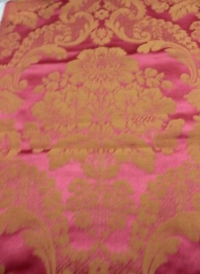 Antique French Silk Rosy Red 19thC Frame Home Fabric Sample c1890