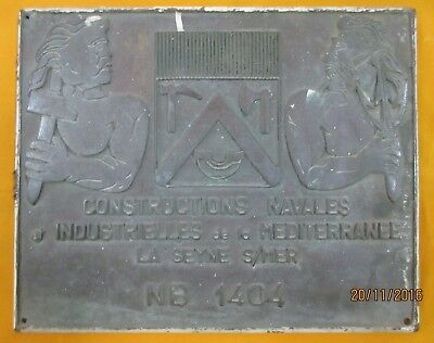 """Ships & Engines Builders ORIGINAL Plaque/Signs """"CONSTRUCTIONS NAVALES INDUSTRIE"""""""