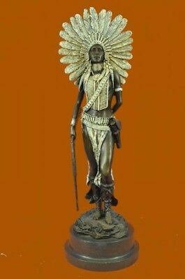 Hand Made Indian Native American Warrior Art Statue Figurine Bronze Sculpture