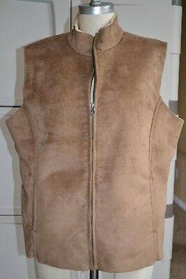 Lands' End Womens Large 14-16 Brown Faux Suede W Shearling Lined Zip Vest