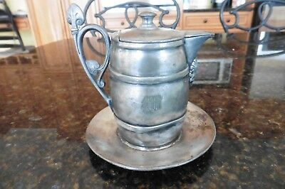 Reed & Barton Silverplated Lidded Creamer or Syrup pitcher face attached plate M