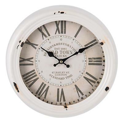 Round Antique White Distressed Metal Glass Wall Clock Shabby Vintage Chic 31cm