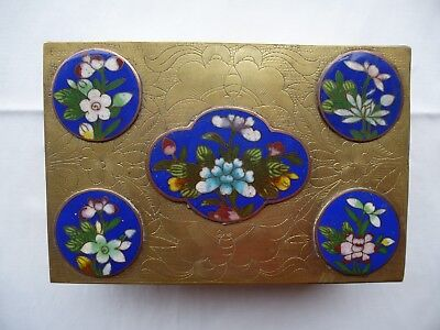 Antike Schatulle Dose Messing Cloisonné / Emaille Email 19. Jahrhundert China