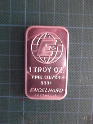 Scarce, 1 Troy Oz, Series 2 Engelhard  Australia .999 Fine Silver Bar.