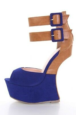 14fee8d9c332 LILIANA MULTI-TONE ANKLE Strap Heel Less Curved Wedge Size 6 ...