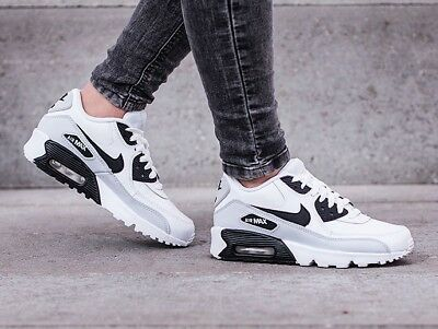 NIKE AIR MAX 90 LTR (GS) Youth Boys Running Shoes 833412-104 White Black Grey 6y