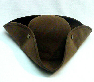 Outlander Revolutionary War Colonial Tricorn hat Brown Faux Suede new