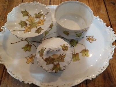 Limoges Antique Porcelain Dressing Table Tray Set