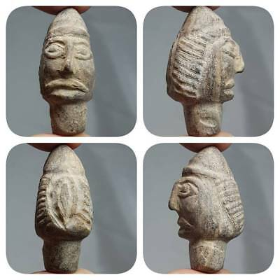 Very Old Bactrian King face Head Stone Statue   #z