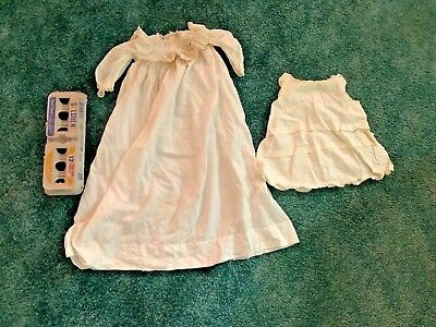 ANTIQUE CHRISTENING BAPTISM GOWN & SLIP Pearl Buttons Lace Ruffles Gathers Doll