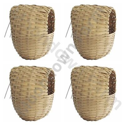 4 x Finch Nest Box Coco Wicker with Hooks For Cage Hanging 15x11x11 Finches